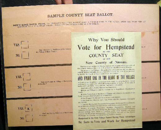 1898 Broadside and Sample Ballot for the Question: Why You Should Vote for Hempstead as the County Seat of the New County of Nassau. Americana - Ephemera - Nassau County Seat.
