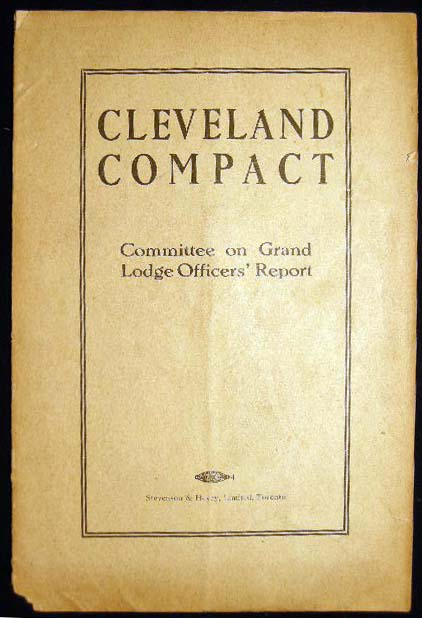 Cleveland Compact Committee on Grand Lodge Officers' Report. Americana - Labor History - Railroads.