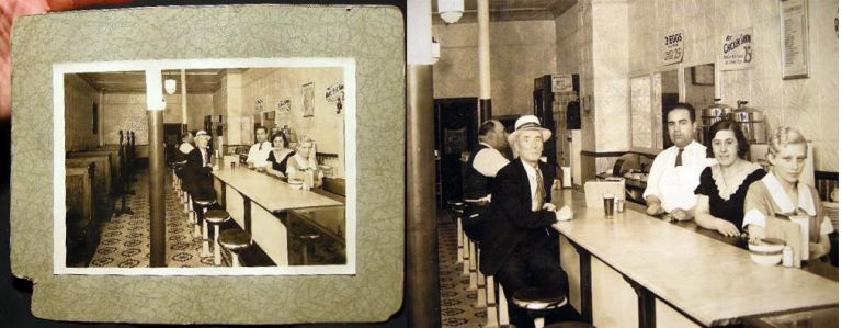 C. 1920 Cabinet Card Photograph of the Interior of a Diner, the Patrons and Staff Having Neutral, Noncommital or Troubled Expressions. Photography - United States - 20th Century.