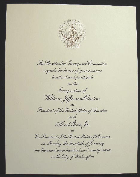 1997 Large Format Invitation for the Inauguration of William Jefferson Clinton as President. Americana - Presidential History - William J. Clinton.