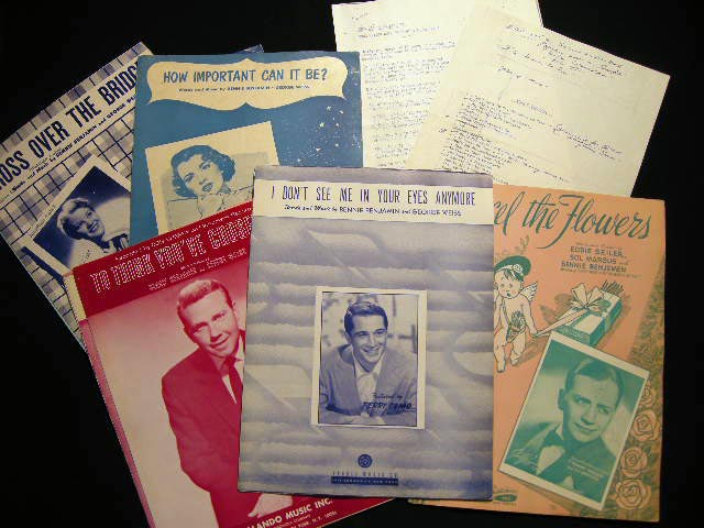 1941 - 1965 Collection of Sheet Music & Lyrics By Bennie Benjamin (with) Related Promotional & Biographical Paperwork. Americana - Entertainment History - Popular Music.
