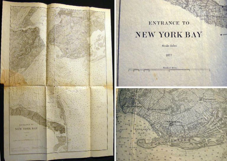 1877 Entrance to New York Bay U.S. Coast Survey. Americana - Coast Survey - New York - Long Island.