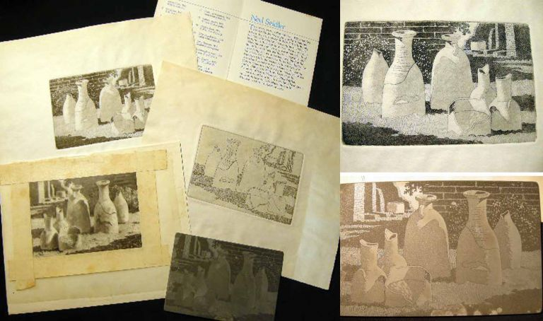 C. 1965 Group of Original Art, Proof and Printing Plate By National Geographic Illustrator Ned Seidler Illustrative of the Process of Printing an Artwork. Art - 20th Century - Printing History.