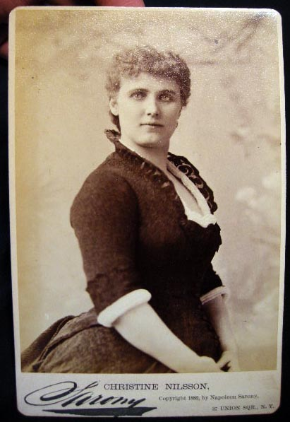 1882 Cabinet Card Photograph of Actress Christine Nilsson By Sarony New York. Americana - 19th Century -Theatre - Photography.