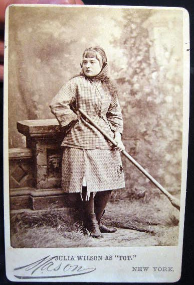 "Circa 1882 Cabinet Card Photograph of Actress Julia Wilson in Her Role as ""Tot"" By Mason New York. Americana - 19th Century -Theatre - Photography."
