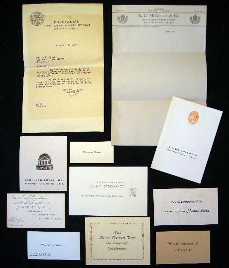 Small Group of 19th & 20th Century American Publisher's Cards & Compliments. Americana - Publishing - 19th, 20th Century.