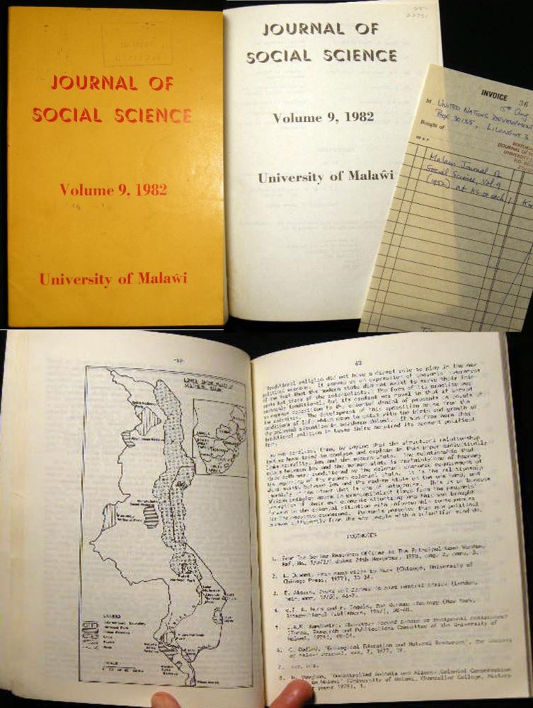 Journal of Social Science Volume 9, 1982 University of Malawi. Africa - Social Science - Malawi.