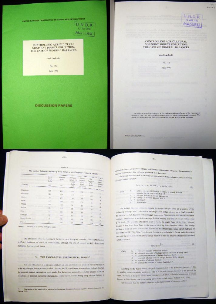 United Nations Conference on Trade and Development Discussion Papers: No. 116 Controlling Agricultural Nonpoint Source Pollution: The Case of Mineral Balances By Jussi Lankoski. United Nations - Trade - Environment - Development.