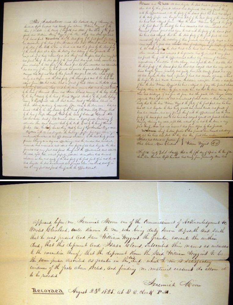 1824 Indenture for Lands of the Wiggins Family in Southold Oysterponds and Shelter Island New York. Americana - Manuscript - Long Island.