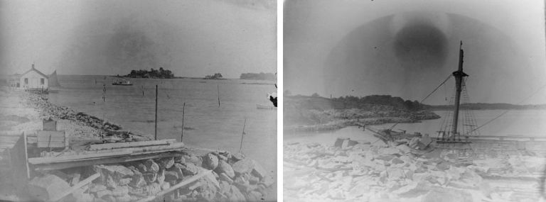 C. 1890 Two Glass Plate Negatives of the Maine Coastline. Photography - 19th Century - Maine.