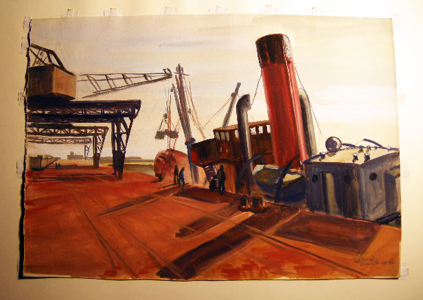 """Granville"" (dockside) Original Watercolor on Paper, Titled, Signed and Dated By Claude Remusat. Art - 20th Century - France - Claude Remusat."