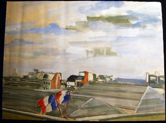 """Paris 1946"" (Roofs) Original Watercolor Inscribed Dated and Signed By Claude Remusat. Art - 20th Century - France - Claude Remusat."