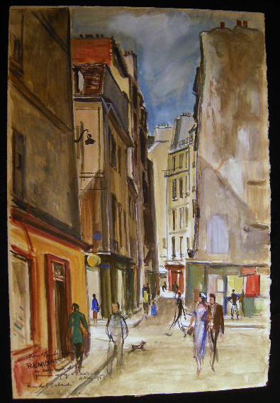 """Rue De L'Echaude"" Original Watercolor on Paper, Inscribed, Titled and Signed, Dated 4 Mai 1956 By Claude Remusat. Art - 20th Century - France - Claude Remusat."