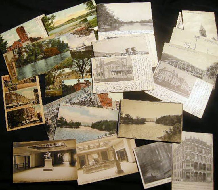 Collection of Postcards from Oneonta New York, Including Undivided Backs, Real Photo, a Group of Wilber Block Fire Images, High School Interiors, Town Architecture, Railroads, Trolleys & Transportation, Color & Black and White Imagery. Americana - Postcards - Oneonta New York.