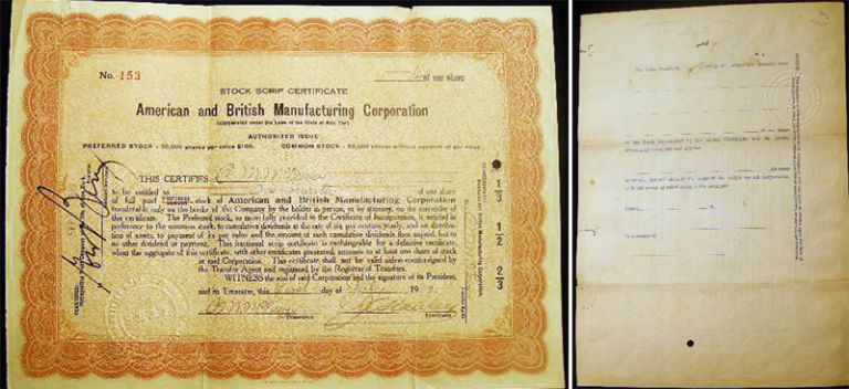 1919 Stock Scrip Certificate American and British Manufacturing Corporation. Americana - 20th Century - Business History - Scripophily.