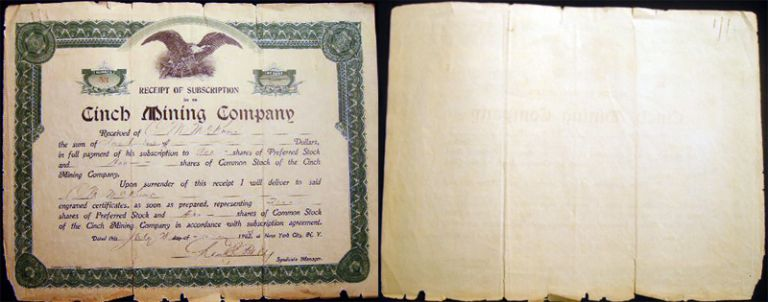 1903 Receipt of Subscription in Re Cinch Mining Company. Americana - 20th Century - Business History - Mining - Scripophily.