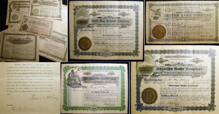 1895 - 1924 Collection of Stock Certificates & Related Ephemera Concerning the Investments of the Ray Brothers, Primarily Concerned with Their Activities in the Rogue River Area of Oregon, Mining, Power and Real Estate Development. Americana - Finance - Investment History - Stock Market - Oregon - Mining - Scripophily.