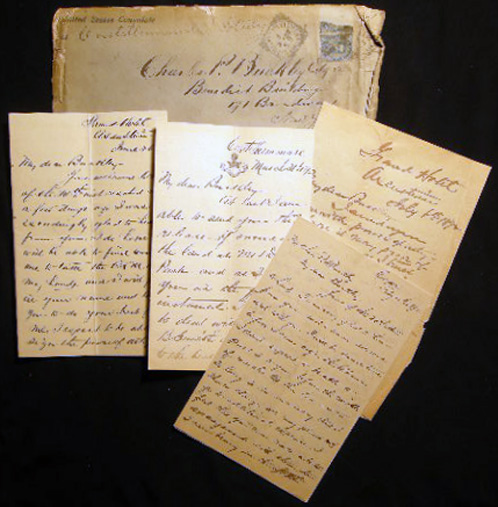 1892 Group of Manuscript Letters from William Brewster Valentine, Touring Italy & Switzerland, to His Lawyer Charles P. Buckley in NYC, Regarding Land Transactions, Lawsuits and Investments. Americana - 19th Century - New York - Real Estate - Italy.