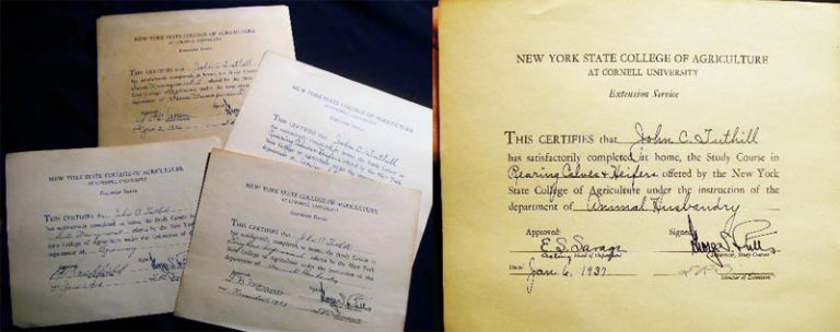 1936 - 1938 Four Certificates Granted for Studies Taken at the New York State College of Agriculture at Cornell University Extension Service (Long Island). Americana - Education - N. Y. State College of Agriculture at Cornell University Extension Service - Long Island.
