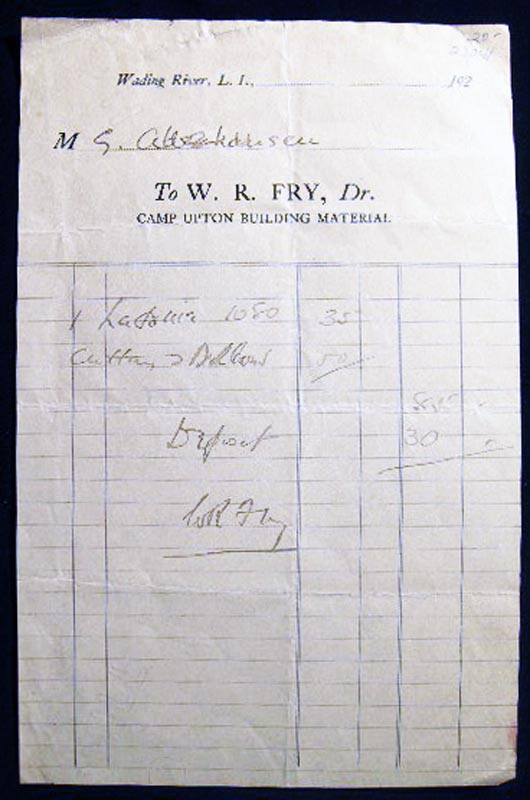 Circa 1920 Receipt W.R. Fry, Camp Upton Building Material Wading River Long Island New York. Americana - 20th Century - Business History - Long Island - Construction.