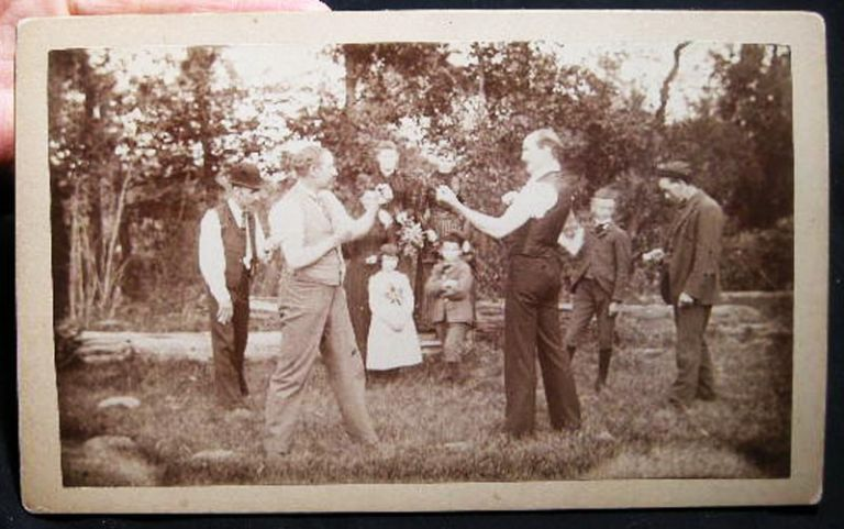 """Circa 1870 Cabinet Card Photograph of 2 Men Squaring Off for a Bare Knuckle Fistfight - Perhaps a Private """"Matter of Honor"""" Americana - 19th Century Photography - Boxing - Bare Knuckle Fisticuffs."""