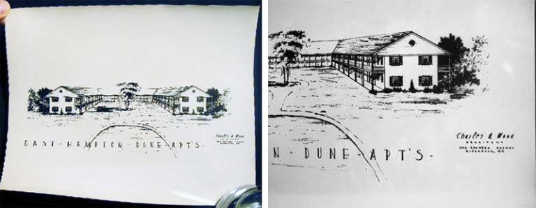 "Circa 1950 8"" x 10"" Glossy Black and White Photograph of a Perspective Drawing of the East Hampton Dune Apts. Charles A. Wood Architect 206 Roanoke Ave. Riverhead New York. Americana - 20th Century - Architecture - Long Island - Photography."