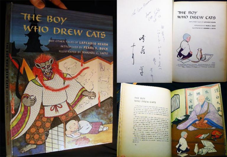 The Boy Who Drew Cats Signed and Inscribed By the Illustrator, Manabu C. Saito. Lafcadio Hearn.