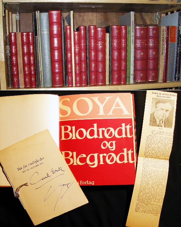 1923 - 1957 Collection of over 50 individual Inscribed & Signed Publications of Danish Humorist Playwright Author Carl Erik Soya. Denmark - Literary History - Soya.