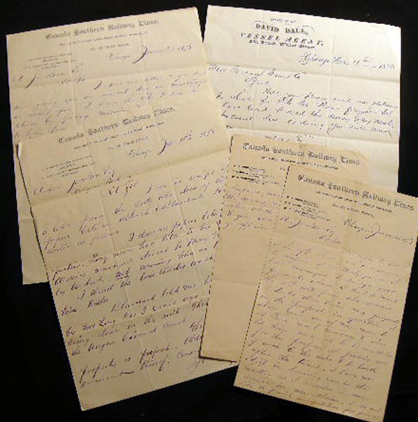 1878 Letters, Western Agent for the Canada Southern Railway Lines, Chicago. Americana - 19th Century - Chicago - Business History - Canada Southern Railway LInes.