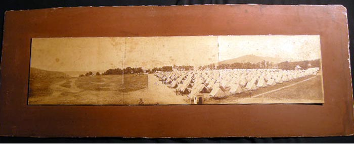 Circa 1865 Military Tent Encampment Panoramic Photograph. Americana - 19th Century - Photography - Military History - Civil War Era.