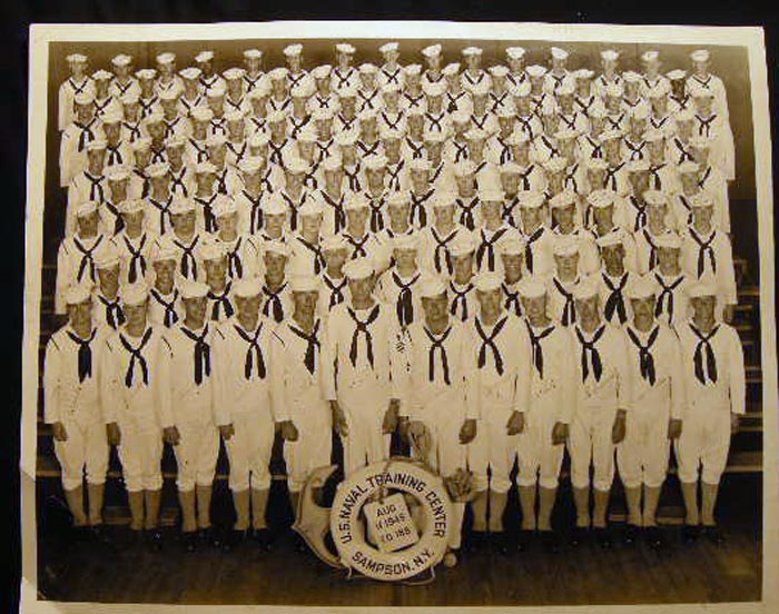 1945 Large Format Potograph U.S. Naval Training Center Sampson, N.Y. Co. 188 Signed By the Members of the Class. Americana - 20th Century - Photography - United States Navy.