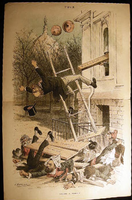 19th Century Double-Page Color Cartoon from Puck: Taking a Tumble. By J. Keppler. American Art - Puck - Political History - Labor.