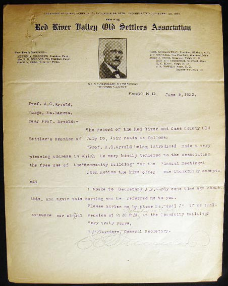 1923 Typed Letter Signed By E.E. Saunders, General Secretary of the Red River Valley Old Settlers Association, Fargo, North Dakota. Americana - North Dakota - Red River Valley Old Settlers Association.