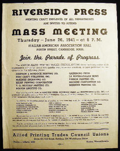 1941 Broadside Requesting Attendance of Riverside Press Printing Craft Employes of All Departments Mass Meeting Under the Auspices of the Allied Printing Trades Council. Americana - Labor History - Printing, Allied Trades - Massachusetts.