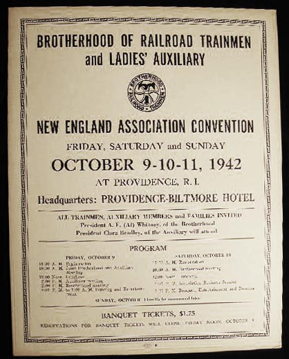 1942 Poster Announcing the Brotherhood of Railroad Trainmen and Ladies' Auxiliary New England Association Convention at Providence, R.I. Americana - Labor History - Brotherhood of Railroad Trainmen, Ladies' Auxiliary.