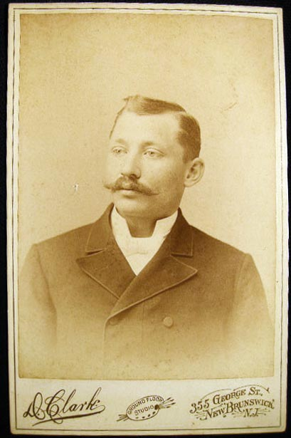 Circa 1892 Cabinet Card Portrait Photograph By David Clark New Brunswick New Jersey. Americana - Photography - 19th Century - New Jersey - New Brunswick - D. Clark.