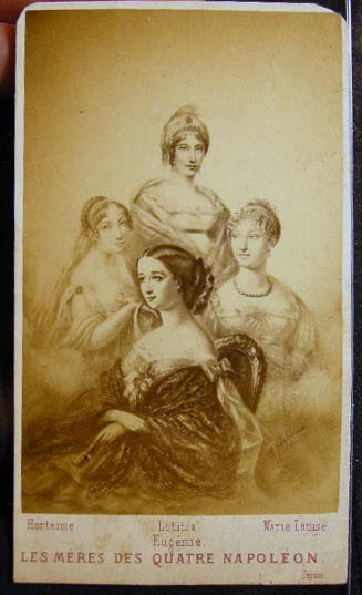 Carte-de-Visite Photograph of a Portrait Depicting Les Meres Des Quatre Napoleon: Hortense - Letititia - Marie Louise - Eugenie By A. Sobaux. Photography - 19th Century - France - Royalty.