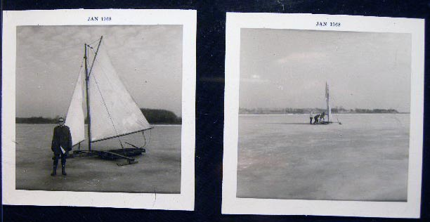 1968 Two Photographs of Ice Boating. Americana - 20th Century - Photography - Sporting History - Ice Boating.