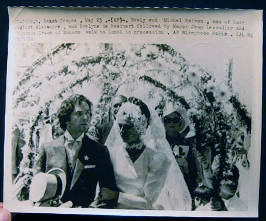 1970 AP Wirephoto Saint Tropez Newly Wed Michel Raimon Son of Hair Stylist Alexandre, and Evelyne De Beschart Followed By Mayor Jean Lescudier and Princess Grace of Monaco Walk to Lunch in Procession. France - 20th Century - Photography - Society - St. Tropez.