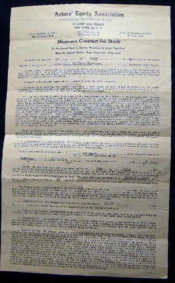 1952 Actors' Equity Association Minimum Contract for Stock Signed By Lolabelle Godfrey Parsons & Shady Lane Theatre Manager Frank Bryan. Americana - 20th Century - Actor's Equity Association - Illinois - Marengo - Shady Lane Theatre.