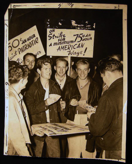 1945 Photograph of American Workers On Strike for a Minimum 75c an Hour American Wage Original Press Photograph with the International News Photos Stamp. Americana - 20th Century - Labor Union - Strike History.