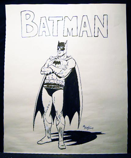 Original Black Ink Marker on Paper Large Format Batman Art Signed By Al Plastino. Americana - 20th Century - Art - Comic Book Superhero - Batman - Al Plastino.