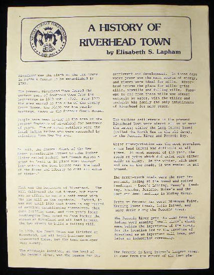 A History of Riverhead Town. Elisabeth S. Lapham.