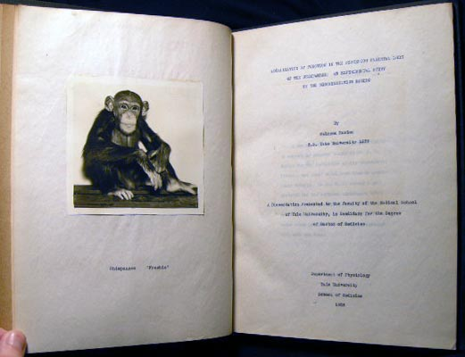 Localization of Function in the Posterior Parietal Lobe of the Chimpanzee: An Experimental Study By the Discrimination Method…A Dissertation Presented to the Faculty of the Medical School at Yale, in Candidacy for the Degree of Doctor of Medicine. Solomon Charles Kasdon.