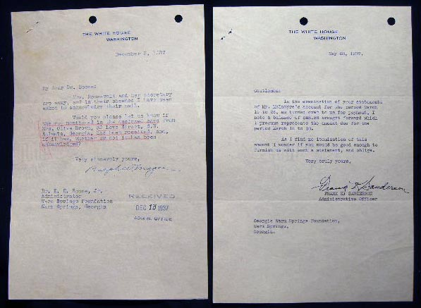 1937 Two Typed Notes on White House Letterhead Signed By Frank K. Sanderson and Ralph W. Magee to the Georgia Warm Springs Foundation. Americana - Autographs - Franklin Delano Roosevelt Administration - Presidents.