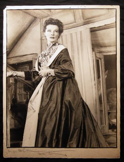 "Large Photographic Portrait of Katharine Hepburn Signed By Her and By the Photographer Angus McBean from the New Theatre Production of the London Stage Show ""The Millionairess"" Photography - Hollywood - Katharine Hepburn - Angus McBean."