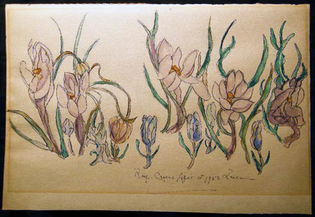 1953 Roof Crocus April 1st Watercolor Art Signed by Leake. Art - 20th Century - Watercolor.