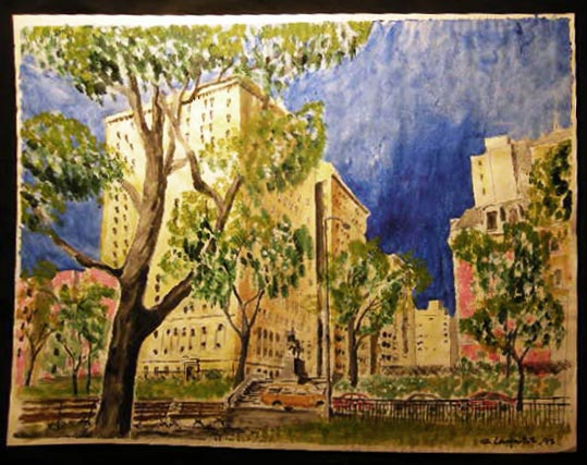 1995 New York City Riverside Park Statue General Sigel Architectural View Large Watercolor Signed G. Langnotot. Art - 20th Century - Watercolor - New York City.