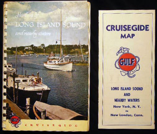 Harbors of Long Island Sound and Nearby Waters New York Harbor to New London, Connecticut 1954 Edition with Folding Cruiseguide Map. Americana - 20th Century - Yachting - Boating - Long Island Sound.
