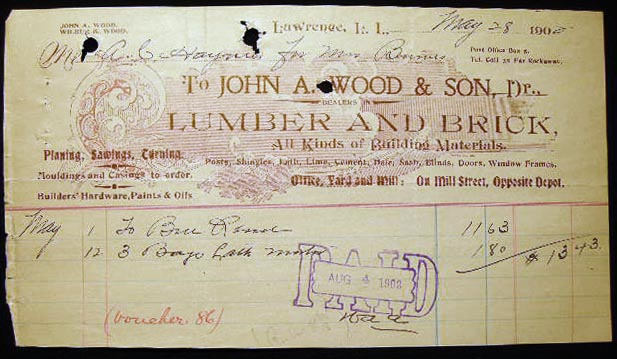 1902 Manuscript & Printed Billhead Receipt from John A. Wood & Son Dealers in Lumber and Brick, All Kinds of Building Materials...Office, Yard and Mill: On Mill Street, Opposite Depot...for A.C. Haynes for Mrs. Burns. Americana - 20th Century - Long Island - Lawrence - Business History.
